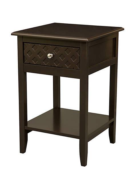 Square-Frame Espresso Wooden End Table With Drawer