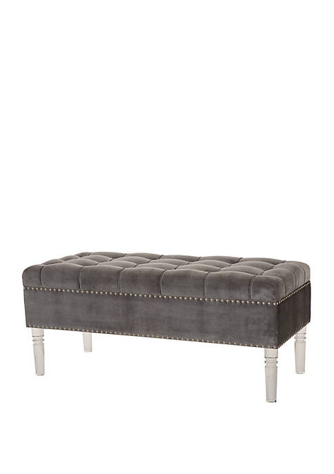 Glitz Home Velvet Tufted Upholstered Storage Bench