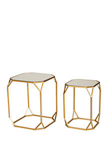 Glitz Home Deluxe Square Metal With Glass Gold Accent Table, Set of 2
