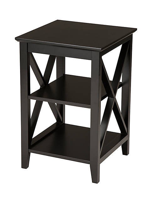 Traditional Espresso X Frame End Table