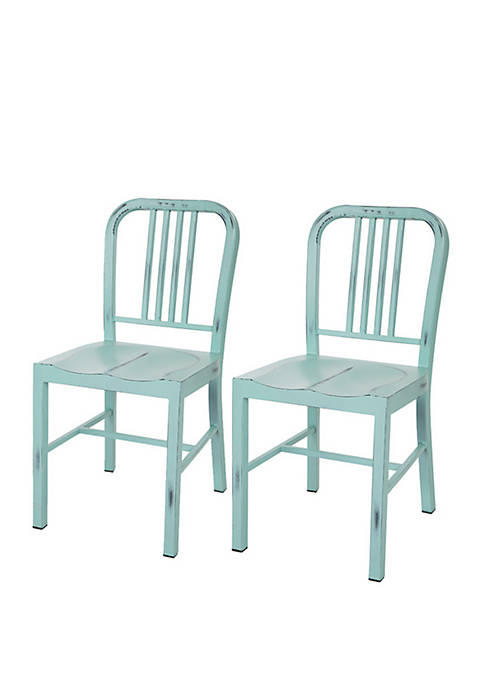 Metal Dining Chair Green, Set of 2
