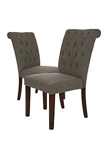 Glitz Home Fabric Dining Chairs With Tufted Back, Set Of 2