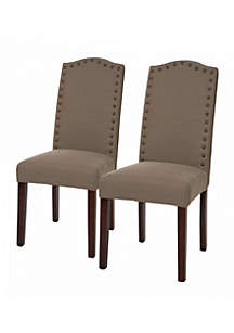 Upholstered Dining Chairs With Studded Decoration-Set Of 2