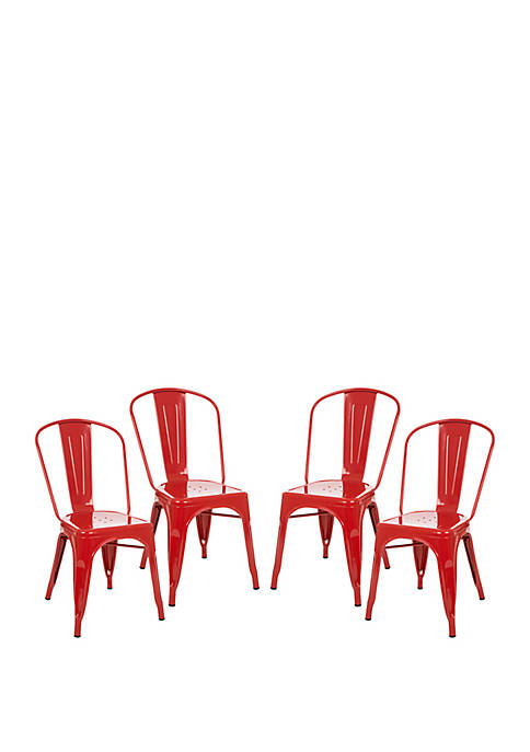 Metal Side Chair Red, Set of 4