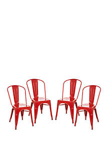 Glitz Home Metal Side Chair Red, Set of 4