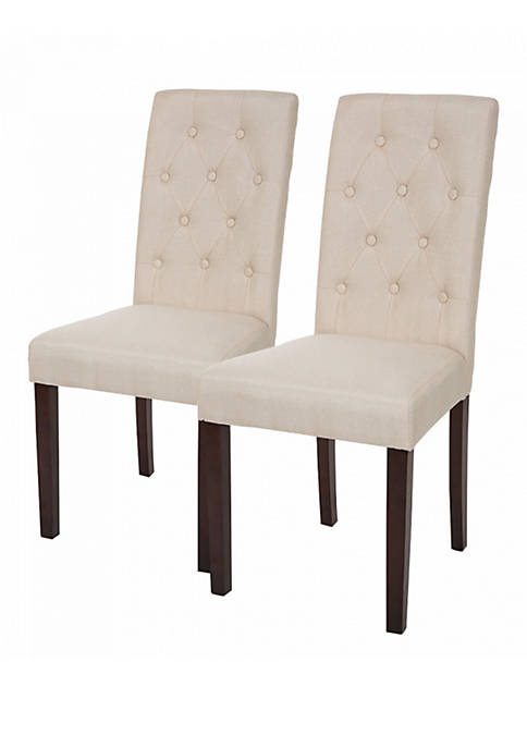 Glitz Home Padded Fabric Dining Chairs With Tufted