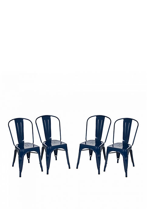 Vintage Stackable Metal Dinning Side Chairs Light Navy Blue Set of 4