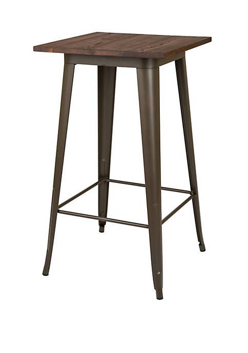 Rustic Steel Bar Table with Elm Wood Top