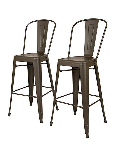 Glitz Home Rustic Steel Backrest Bar Stool Set