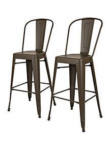 Rustic Steel Backrest Bar Stool Set Of 2