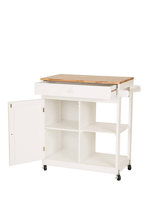 Rubber Wooden Kitchen Island Rolling Storage Table Cart