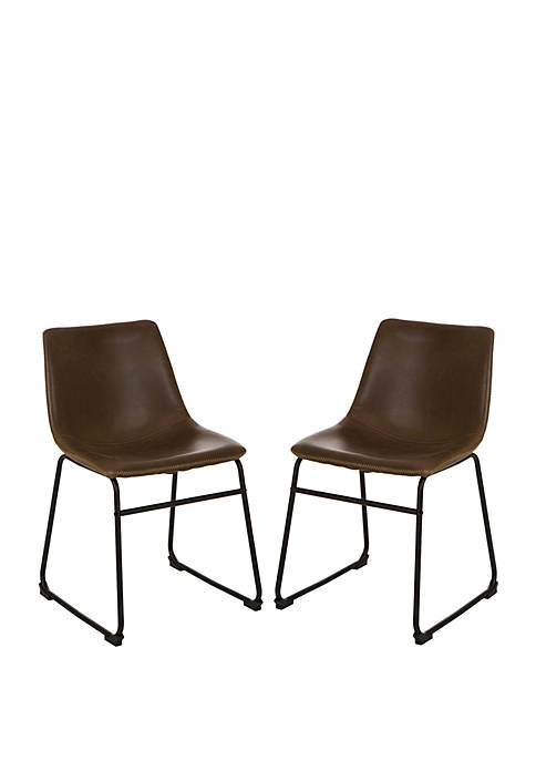 Glitz Home Mid-Century Leather Kitchen Dining Chair Set