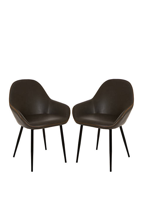 Glitz Home Mid-Century Modern PU Leather Dining Chairs