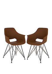Mid-Century Modern Leather Dining Chairs Set of 2