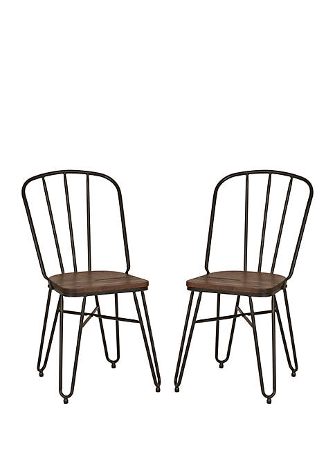 Industrial Steel Dining Chair With Solid Wood Top, Set of 2
