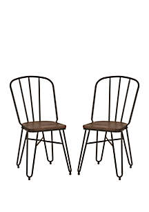 Glitz Home Industrial Steel Dining Chair With Solid Wood Top, Set of 2