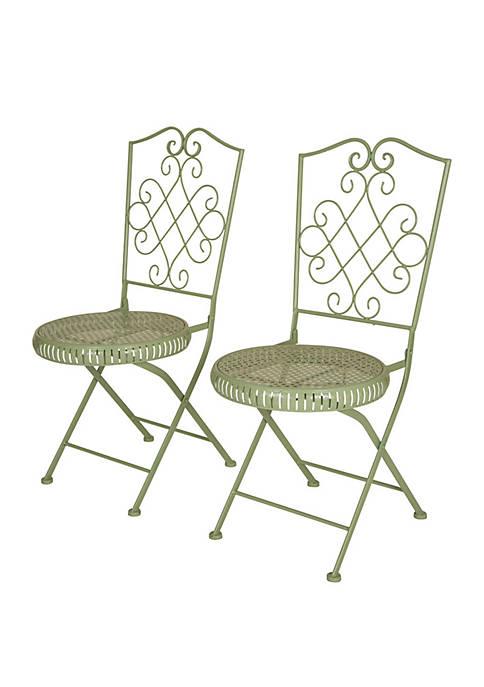 Glitz Home Metal Mint Green Folding Patio Dining