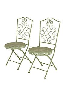 Glitz Home Metal Mint Green Folding Patio Dining Chair, Set of 2