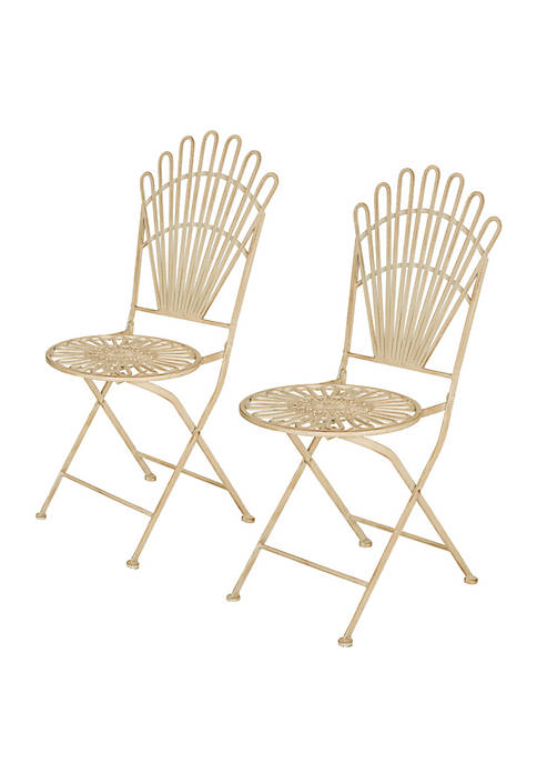 Metal Antique White Folding Patio Dining Chair, Set of 2