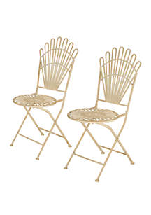 Glitz Home Metal Antique White Folding Patio Dining Chair, Set of 2