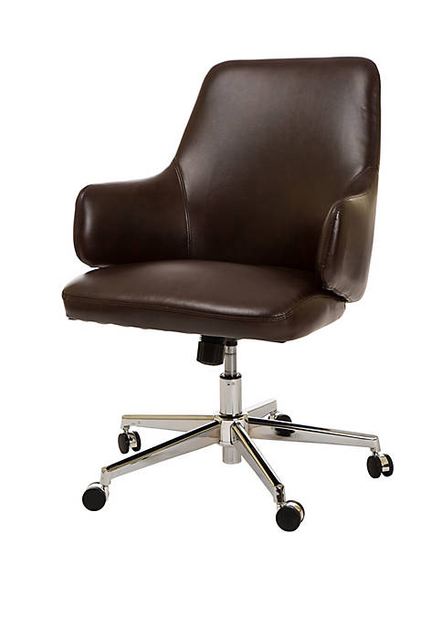 Mid-Back Office Chair Bonded Leather Adjustable Height Swivel Executive Chair