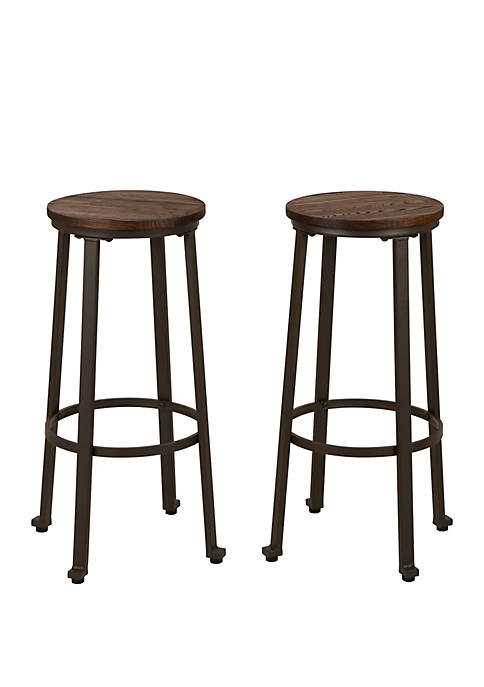 Industrial Steel Bar Stool With Wood Top, Set of 2