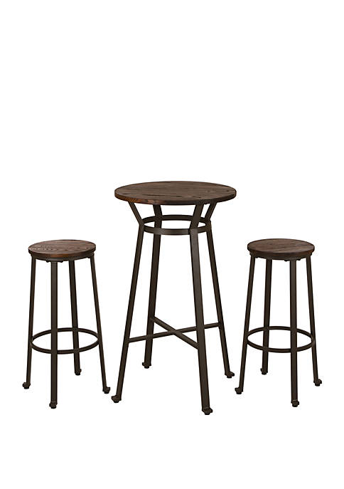 Industrial Steel Bar Table Stool With Wood Top Set, Set of 3