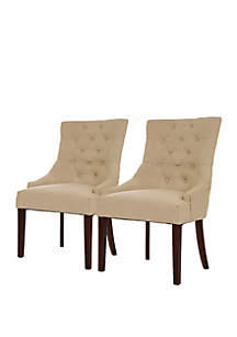 Modern Tufted Beige Fabric Dining Chairs Set Of 2