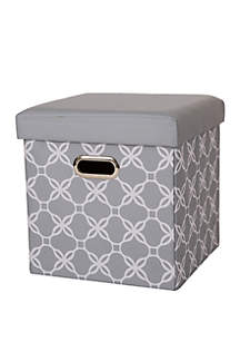 Glitz Home Cube Oxford Foldable Storage Ottoman with Padded Seat