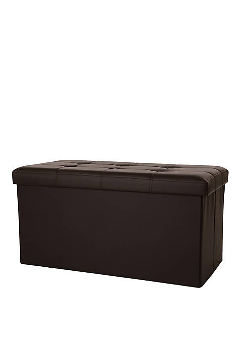 Multi-Functional Faux Leather Foldable Storage Ottoman Bench