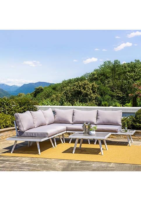 Glitz Home Outdoor Aluminum Sectional Sofa Set with