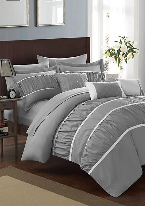 Cheryl 10-Piece Complete Bedding Set with Sheets - Grey