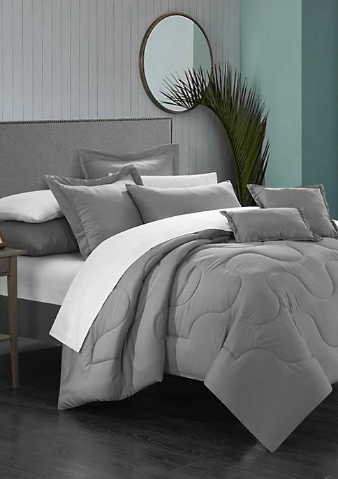 Donna 11-Piece Complete Bedding Set with Sheets - Gray