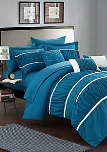 Cheryl 10-Piece Complete Bedding Set with Sheets - Teal