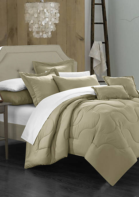 Donna 11-Piece Complete Bedding Set with Sheets - Beige