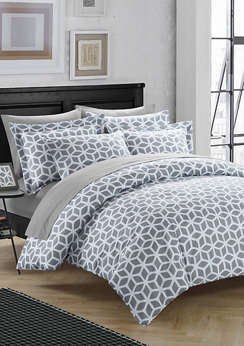 Chic Home Elizabeth Duvet Cover Set- Grey