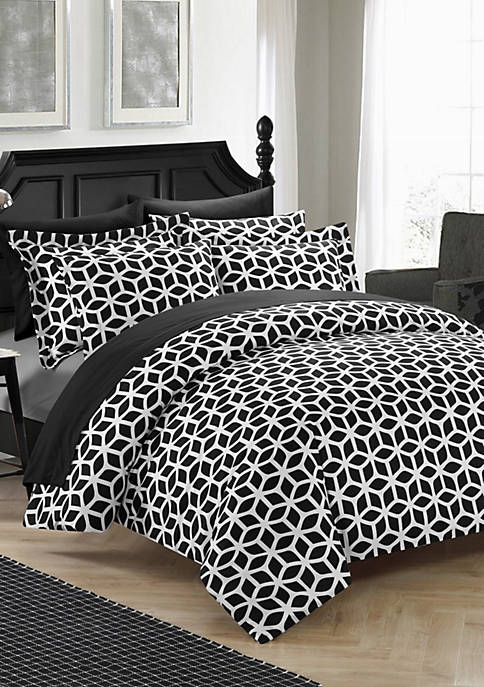 Chic Home Elizabeth Duvet Cover Set- Black