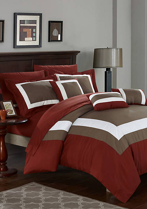 Chic Home Duke 10-Piece Comforter Set- Brick