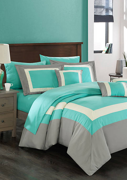 Chic Home Duke 10-Piece Comforter Set- Turquoise