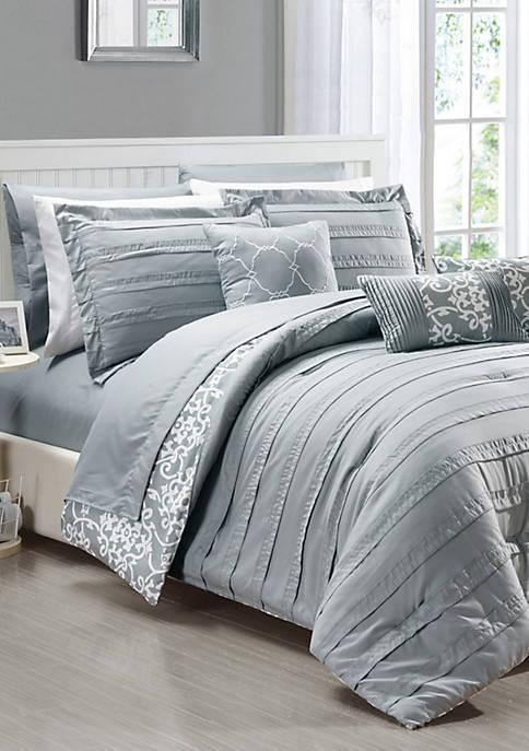 Chic Home Lea 10-Piece Comforter Set-Grey