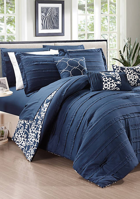 Chic Home Lea 10-Piece Comforter Set-Navy