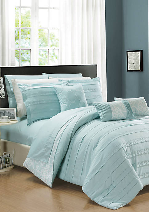Chic Home Lea 10-Piece Comforter Set- Aqua