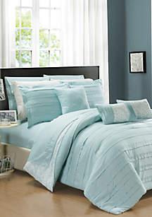 Lea 10-Piece Comforter Set- Aqua