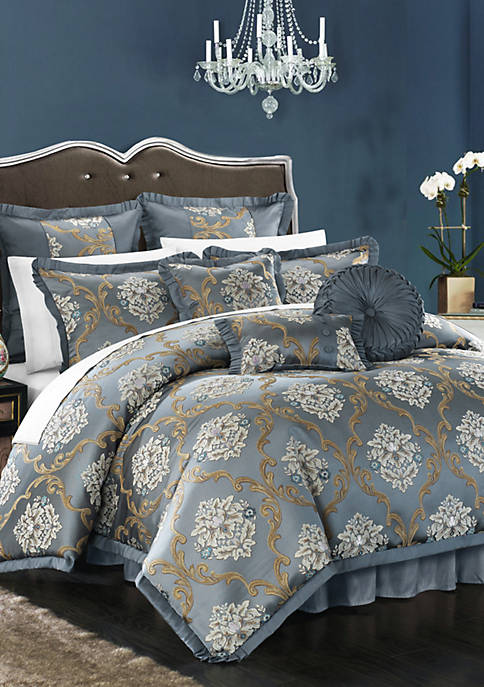 Aubrey 13-Piece Complete Bedding Set with Sheets - Blue