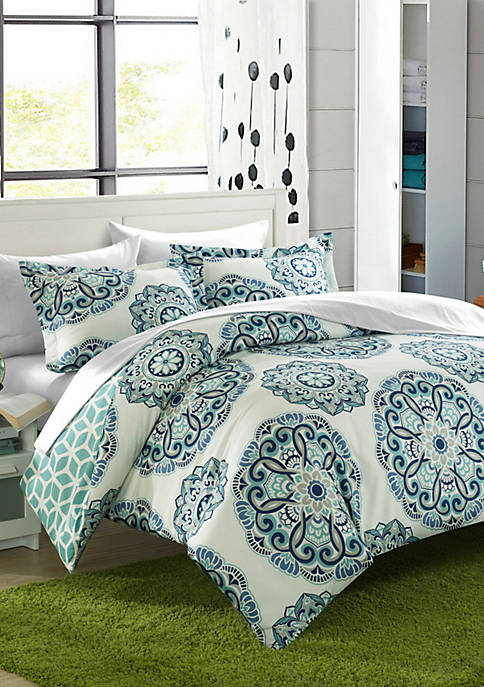 Chic Home Ibiza 7-Piece Duvet Set- Green