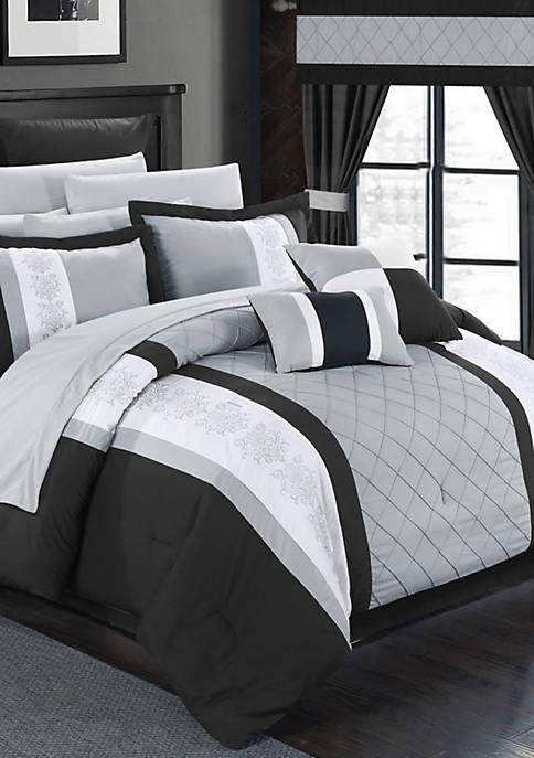 Danielle 24-Piece Complete Bedding Set with Sheets and Window Treatments - Black