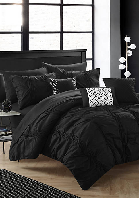 Tori Complete Comforter Set with Sheets - Black