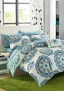 Barcelona Complete Comforter Set with Sheets - Green