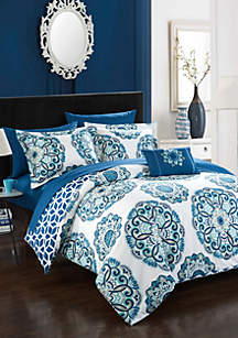 Barcelona Complete Comforter Set with Sheets - Blue