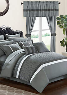 Chic Home Dinah 24-Piece Complete Bedding Set with Sheets and Window Treatments - Gray